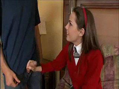 Schoolgirl gets her tight little pussy fucked