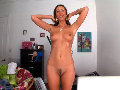 Long-legged girl Angelica Saige posing and undressing