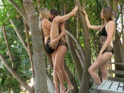 Trio of Caucasian beauties having fun outdoors