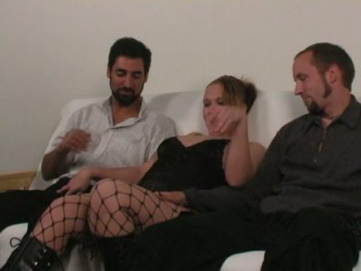 BBW blonde hooker Krysta serves her cunt for two cocky fuckers