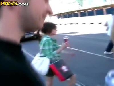 Wonderful teen amateur bitches spend time outside undressing public