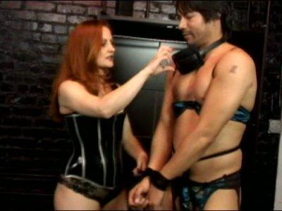 Mean ginger bitch Gemini spanks her crossdressing slave boy