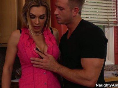 Gorgeous slut Tanya Tate having kitchen sex fun
