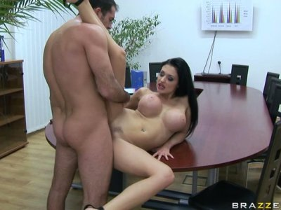 Kneeling down Aletta Ocean gives a stout and tender blowjob