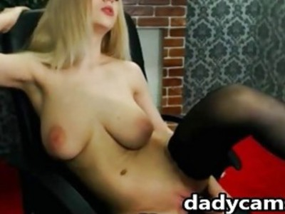 Busty blonde Masturbating Her Pussy With A sex Toy