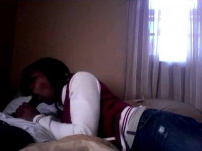 Ebony Teen Gives Boyfriend A Blowjob After Class