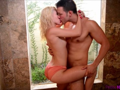 Petite blond chick Kiara Cole is impaled on a hard massive dick