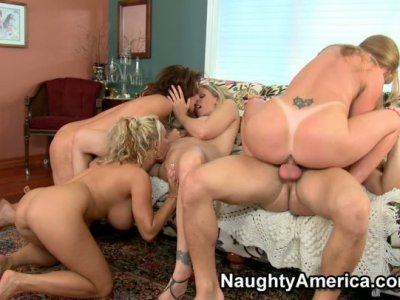 Three nasty girls and one fucking old bitch driving dirty party and riding the group fuck