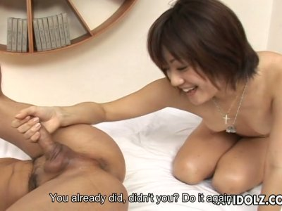 Weird and happy nympho Yuuki Hibino provides a guy with a rimjob