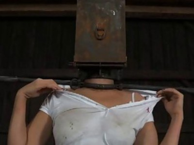 Gagged gal with clamped nipps gets wild joy