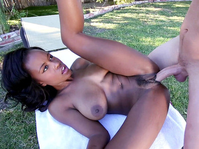 Busty black bitch Jezabel Vessir taking large white dong